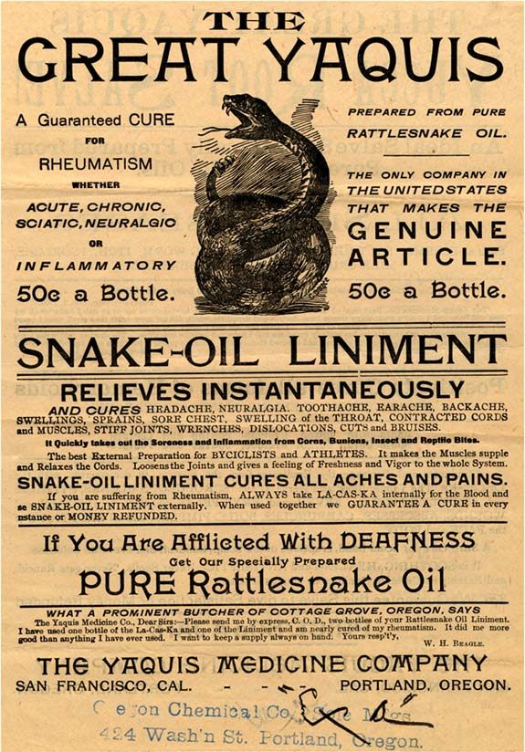 I'm looking for amusing phrases that could be found on old health tonic/elixir advertisements ...